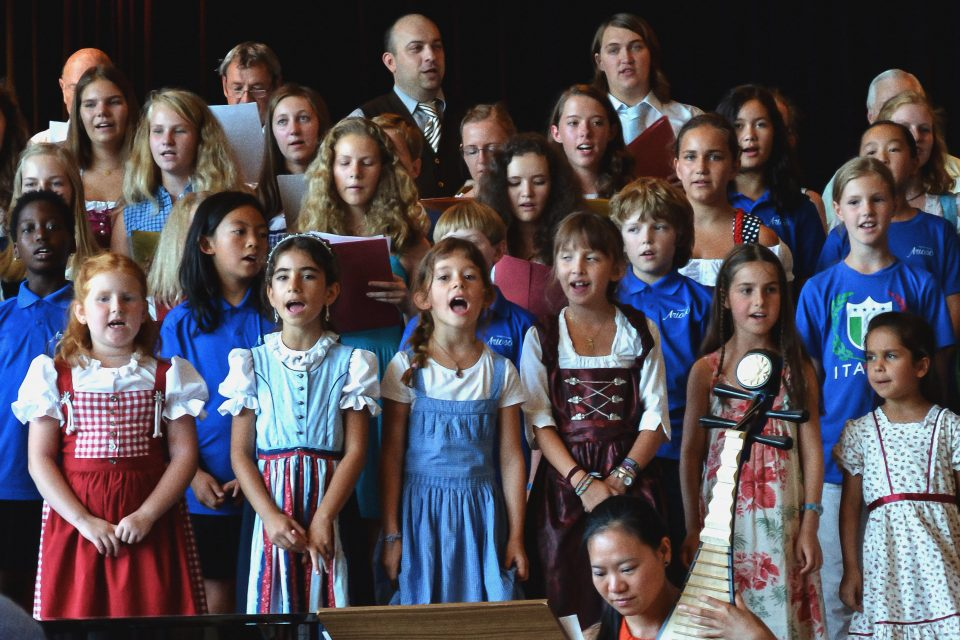 Children's choir singing